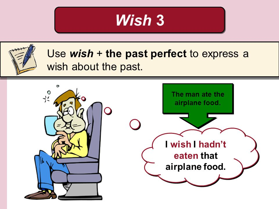 Wish 3 I wish I hadnt eaten that airplane food. The man ate the airplane food. Use wish + the past perfect to express a wish about the past.