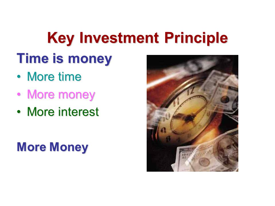 Key Investment Principle Time is money More timeMore time More moneyMore money More interestMore interest More Money