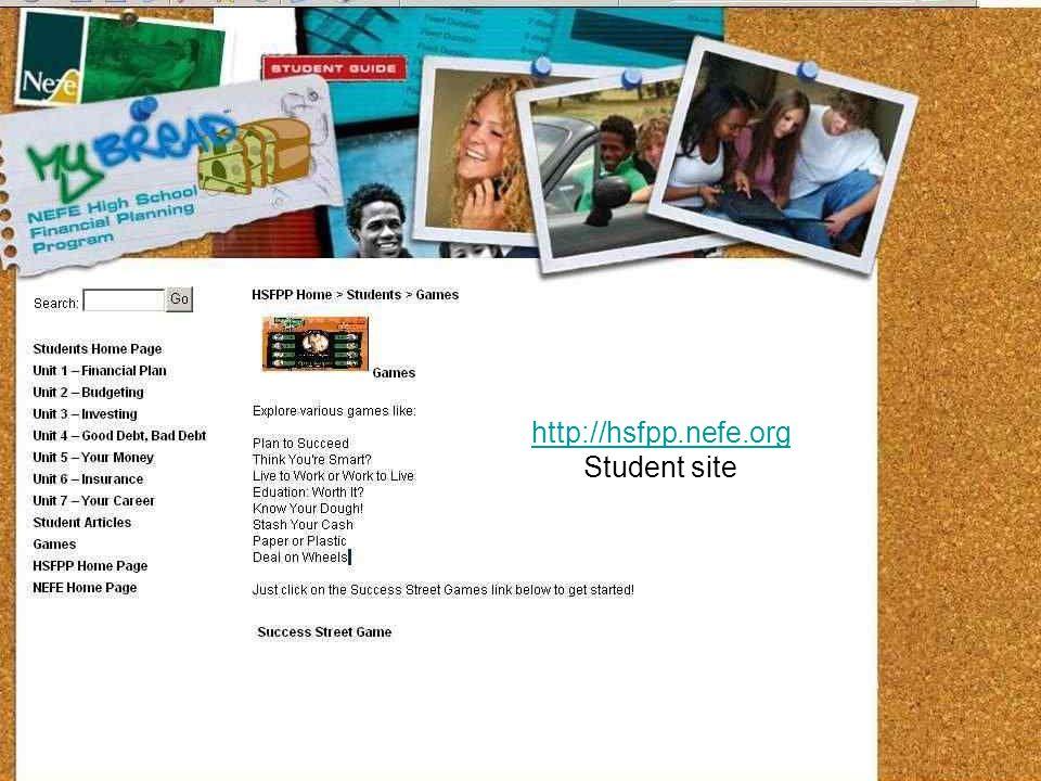 http://hsfpp.nefe.org Student site