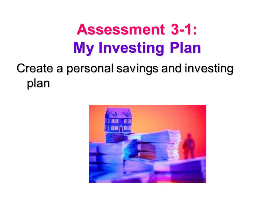 Assessment 3-1: My Investing Plan Create a personal savings and investing plan