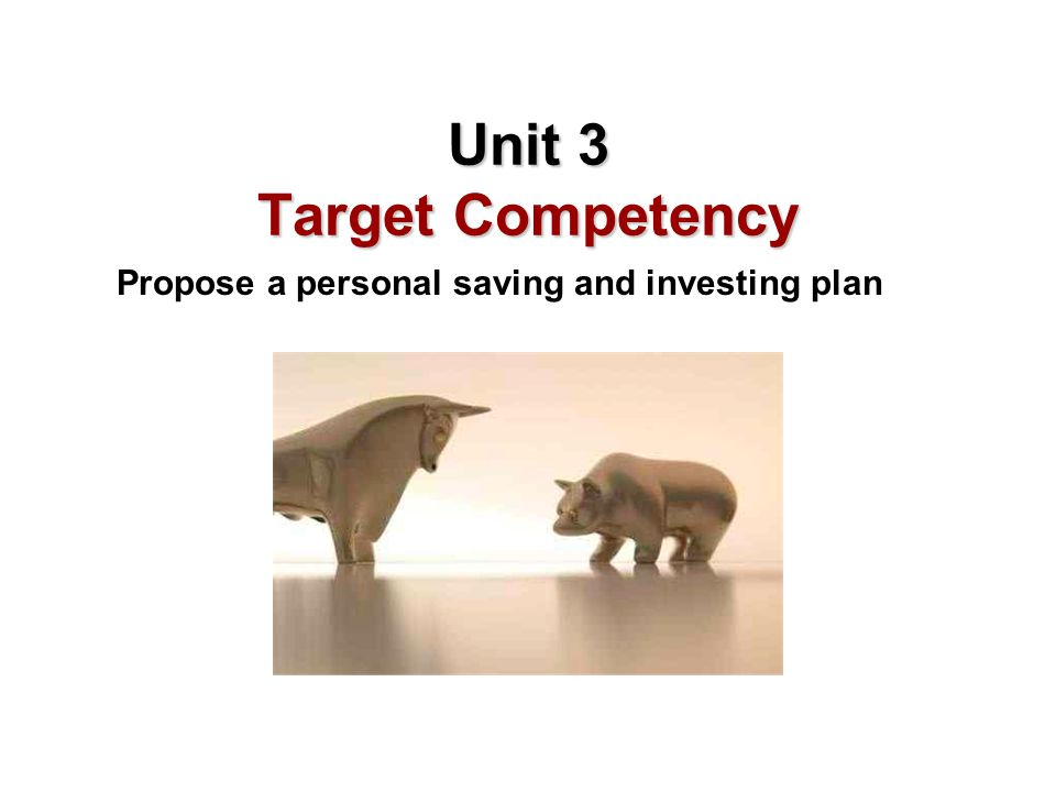 Learning Objectives A.Differentiate between saving and investing B.Assess the time value of money C.Compare investment options D.Compare the relationship between risks and returns related to saving and investments E.Recommend ways to integrate savings and investing strategies into financial planning