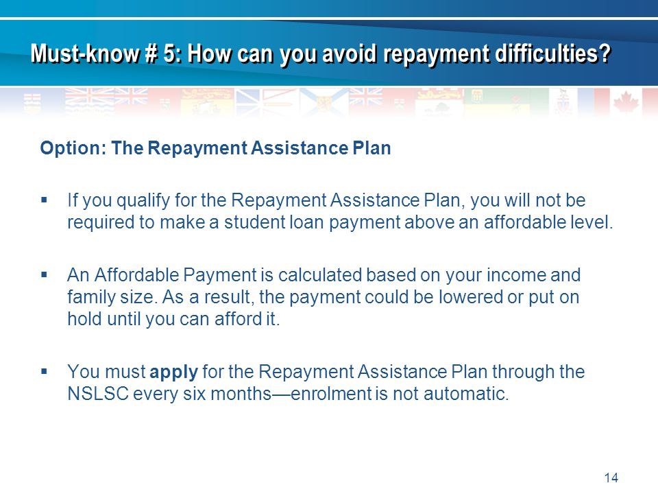 14 Option: The Repayment Assistance Plan If you qualify for the Repayment Assistance Plan, you will not be required to make a student loan payment above an affordable level.