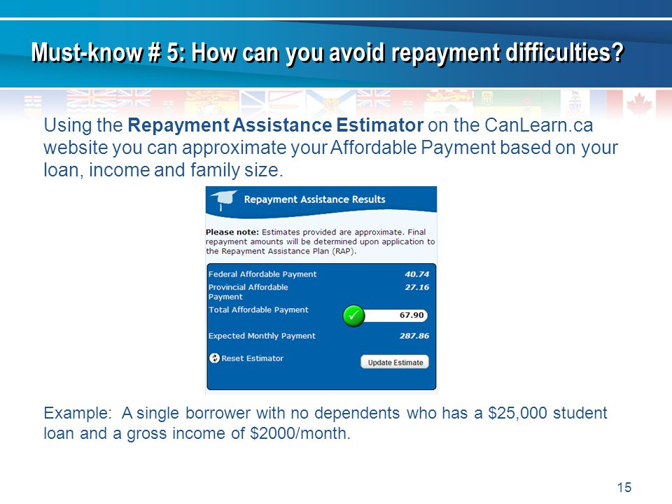 15 Using the Repayment Assistance Estimator on the CanLearn.ca website you can approximate your Affordable Payment based on your loan, income and fami