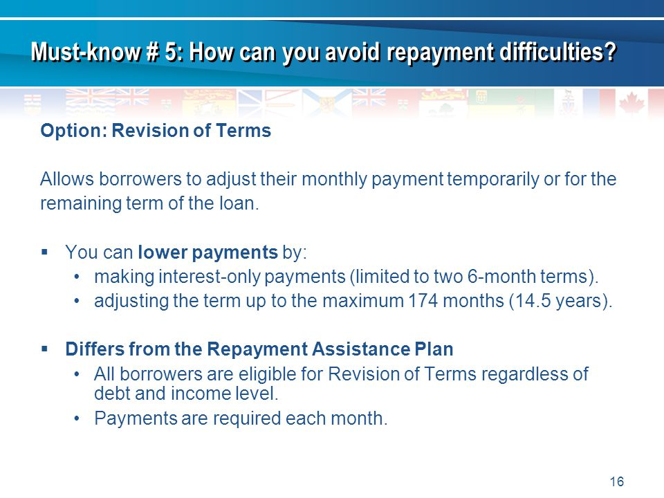 16 Option: Revision of Terms Allows borrowers to adjust their monthly payment temporarily or for the remaining term of the loan.