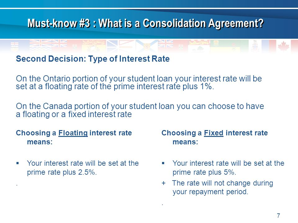 7 Second Decision: Type of Interest Rate On the Ontario portion of your student loan your interest rate will be set at a floating rate of the prime in