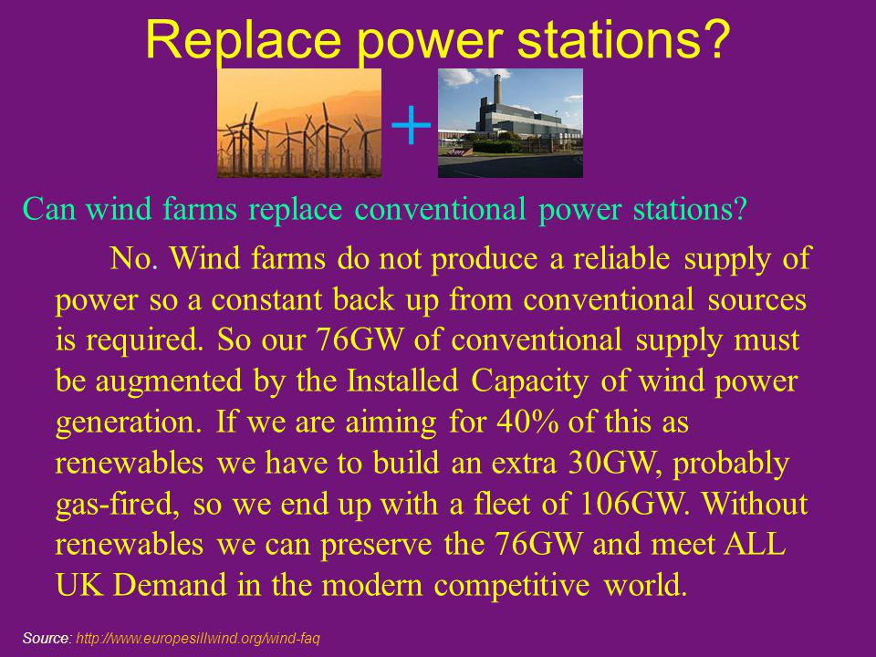 Replace power stations. Can wind farms replace conventional power stations.