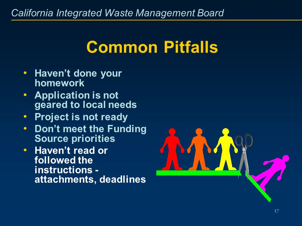 California Integrated Waste Management Board 17 Common Pitfalls Havent done your homework Application is not geared to local needs Project is not read