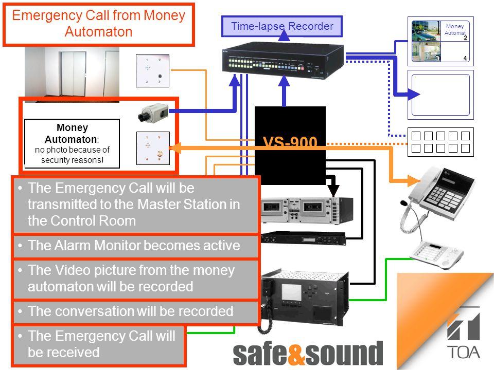 Bild Aufzug Money Automaton: no photo because of security reasons! 12 34 Time-lapse Recorder VS-900 Money Automat Emergency Call from Money Automaton