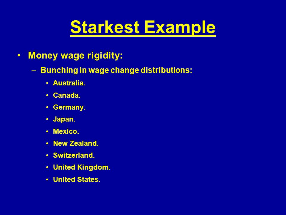 Starkest Example Money wage rigidity: –Bunching in wage change distributions: Australia.
