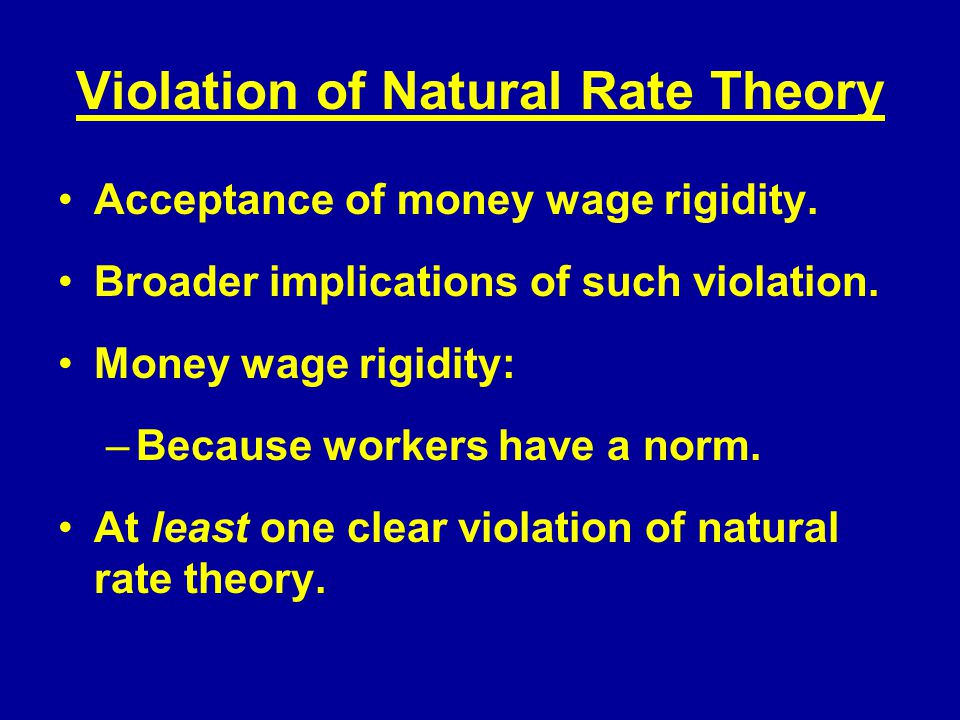 Violation of Natural Rate Theory Acceptance of money wage rigidity.