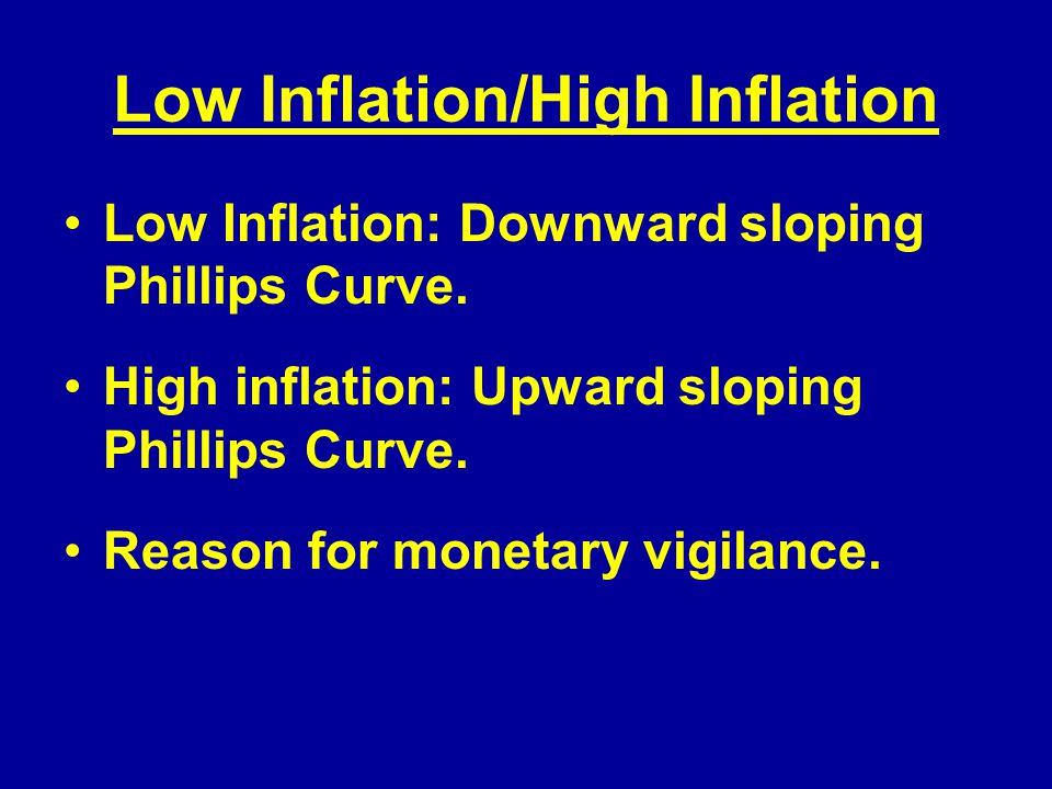 Low Inflation/High Inflation Low Inflation: Downward sloping Phillips Curve.