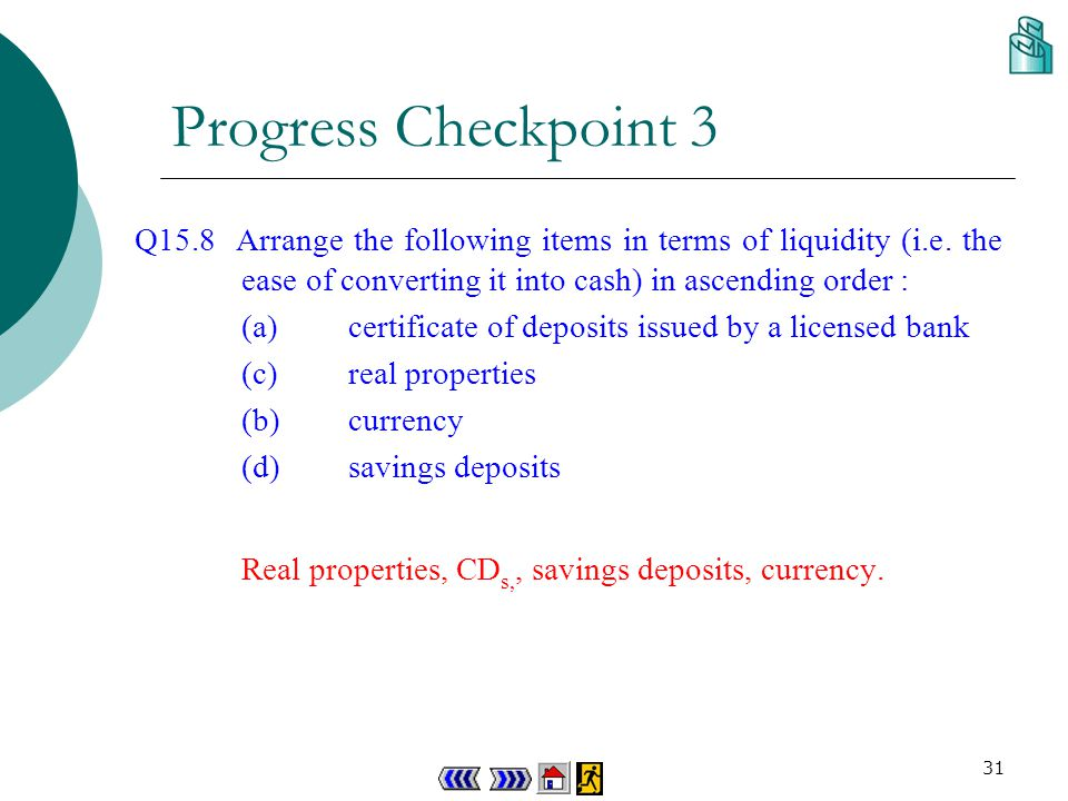 30 Progress Checkpoint 3 Q15.7 Suppose Sonia withdraws deposits from a time deposits account in a licensed bank, and buys a certificate of deposits issued by a deposit-taking company, how will M1, M2 and M3 be affected.
