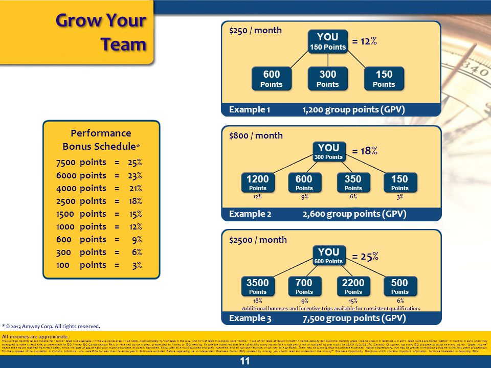 Grow Your Team All incomes are approximate.