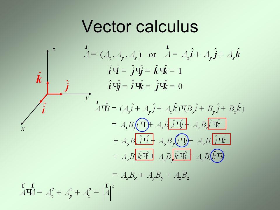 Vector calculus x z y