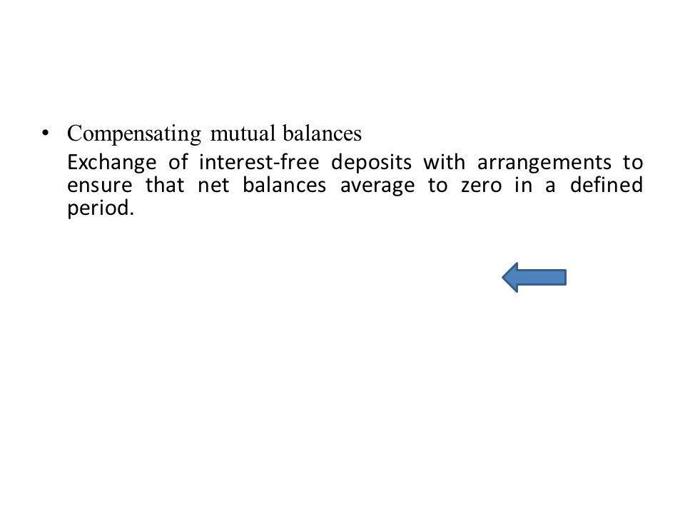 Compensating mutual balances Exchange of interest-free deposits with arrangements to ensure that net balances average to zero in a defined period.