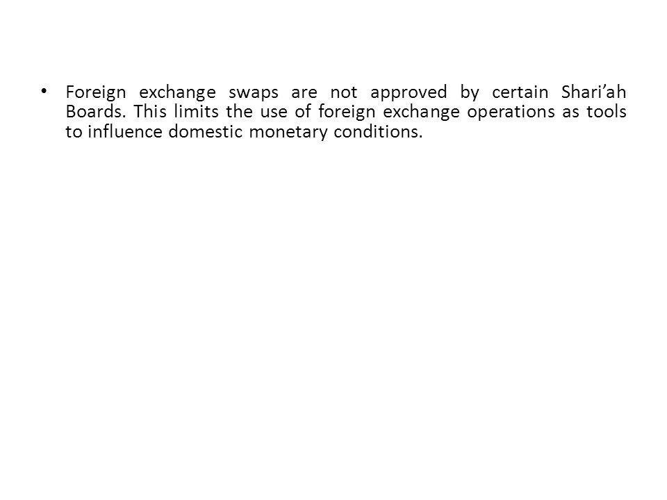 Foreign exchange swaps are not approved by certain Shariah Boards.