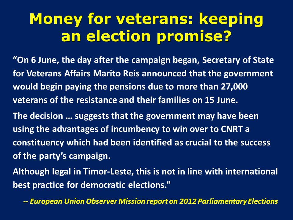 Money for veterans: keeping an election promise.