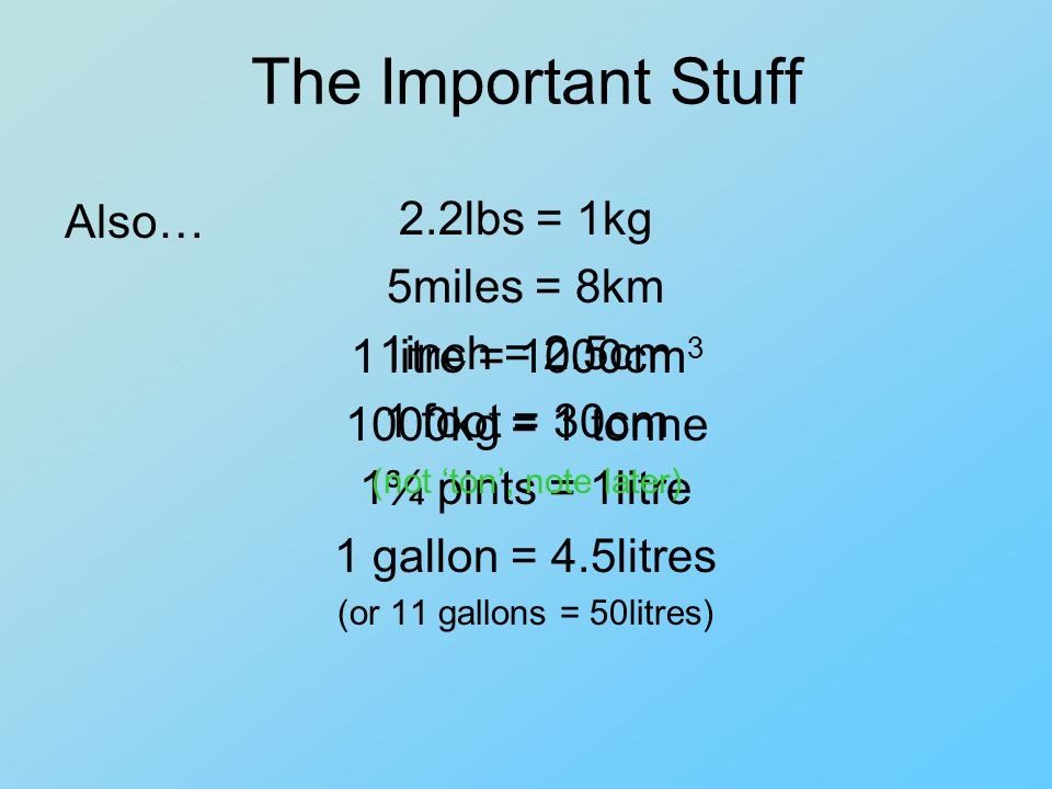 The Important Stuff 2.2lbs = 1kg 5miles = 8km 1inch = 2.5cm 1 foot = 30cm 1¾ pints = 1litre 1 gallon = 4.5litres (or 11 gallons = 50litres) Also… 1 litre = 1000cm 3 1000kg = 1 tonne (not ton, note later)