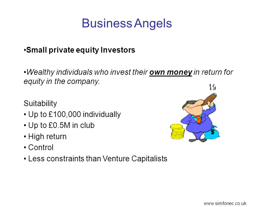 www.simfonec.co.uk Business Angels Small private equity Investors Wealthy individuals who invest their own money in return for equity in the company.