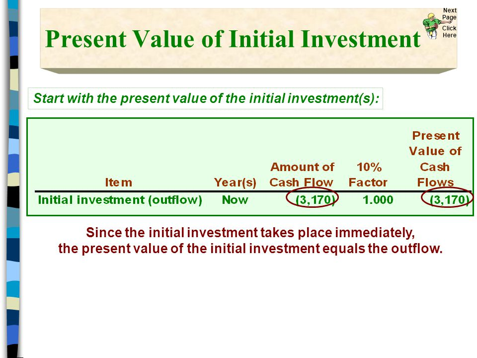 Present Value of Initial Investment Since the initial investment takes place immediately, the present value of the initial investment equals the outflow.
