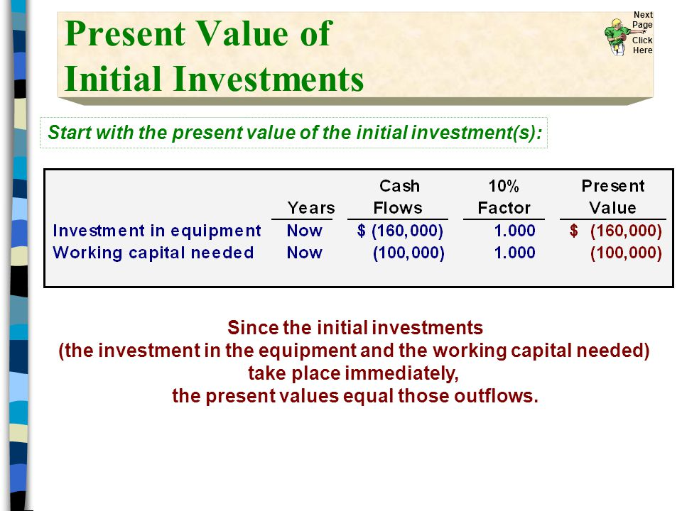 Present Value of Initial Investments Start with the present value of the initial investment(s): Since the initial investments (the investment in the equipment and the working capital needed) take place immediately, the present values equal those outflows.