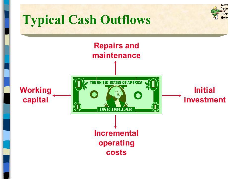 Typical Cash Outflows Repairs and maintenance Incremental operating costs Initial investment Working capital Next Page Click Here