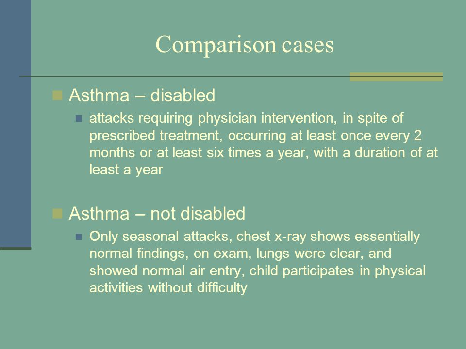 Comparison cases Asthma – disabled attacks requiring physician intervention, in spite of prescribed treatment, occurring at least once every 2 months
