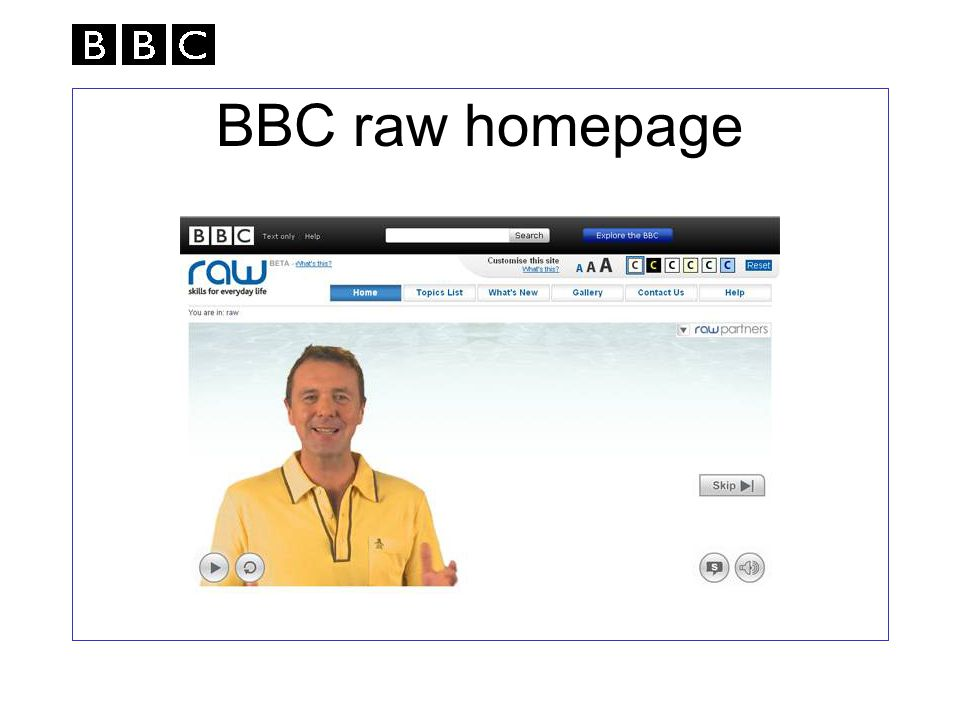 BBC raw homepage