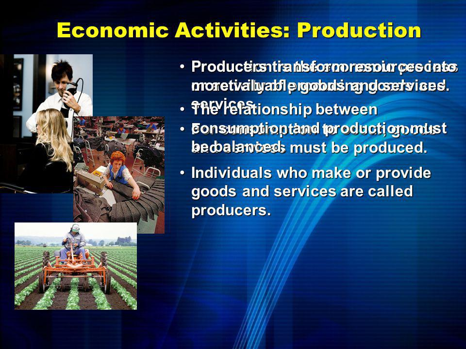 Economic Activities: Consumption Consumption is the economic process or activity of using goods and services.Consumption is the economic process or ac