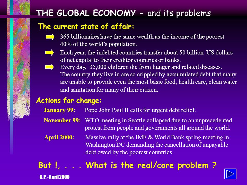 B.P. - April 2000 RE-DESIGNING THE GLOBAL ECONOMY