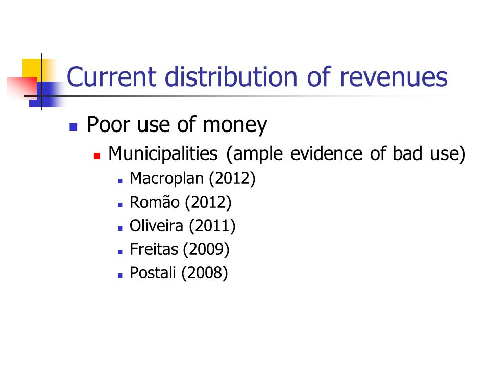 Current distribution of revenues Poor use of money Municipalities (ample evidence of bad use) Macroplan (2012) Romão (2012) Oliveira (2011) Freitas (2009) Postali (2008)