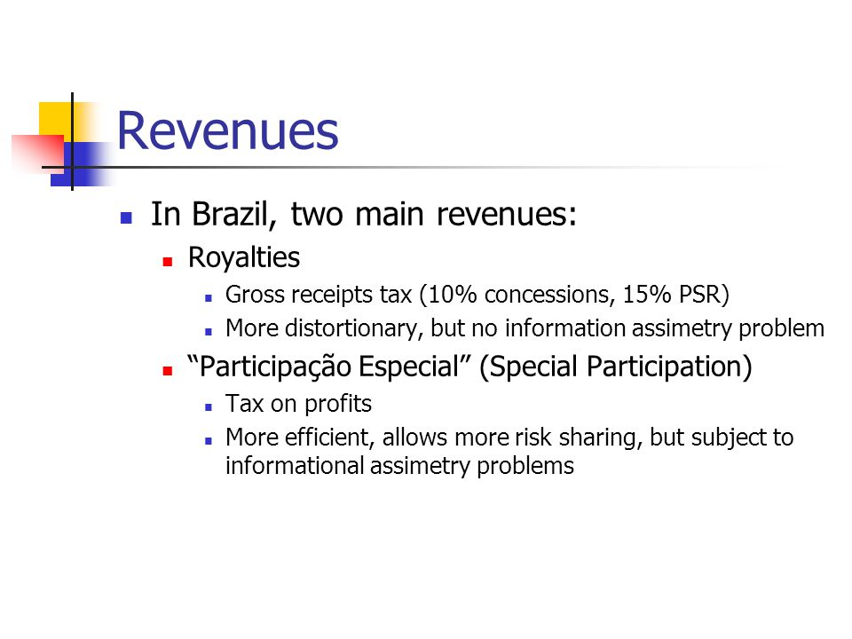 Revenues In Brazil, two main revenues: Royalties Gross receipts tax (10% concessions, 15% PSR) More distortionary, but no information assimetry problem Participação Especial (Special Participation) Tax on profits More efficient, allows more risk sharing, but subject to informational assimetry problems