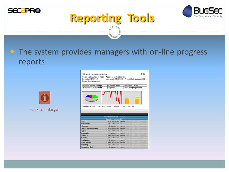 Reporting Tools The system provides managers with on-line progress reports Click to enlarge