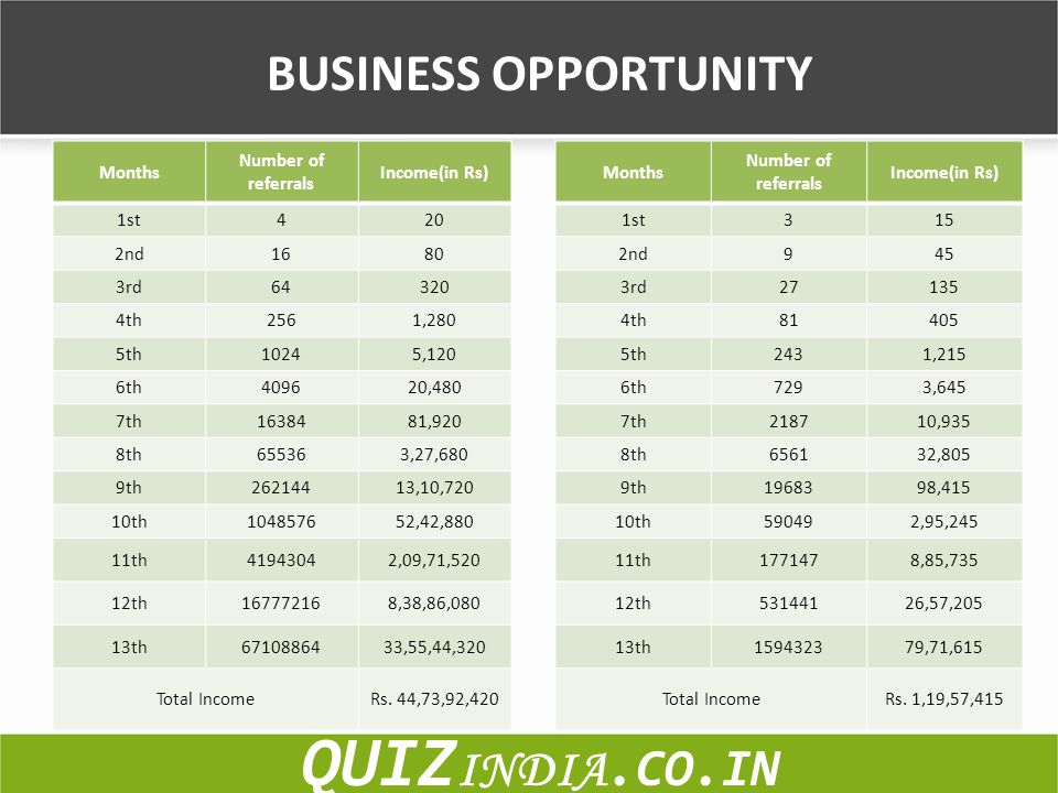 BUSINESS OPPORTUNITY QUIZ INDIA.CO.IN Months Number of referrals Income(in Rs) 1st420 2nd1680 3rd64320 4th2561,280 5th10245,120 6th409620,480 7th16384