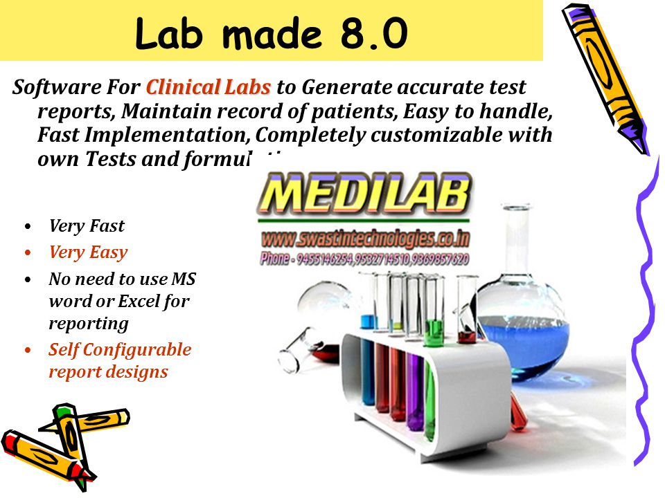 Lab made 8.0 Clinical Labs Software For Clinical Labs to Generate accurate test reports, Maintain record of patients, Easy to handle, Fast Implementation, Completely customizable with own Tests and formulations.