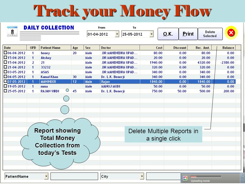 Report showing Total Money Collection from todays Tests Delete Multiple Reports in a single click Track your Money Flow