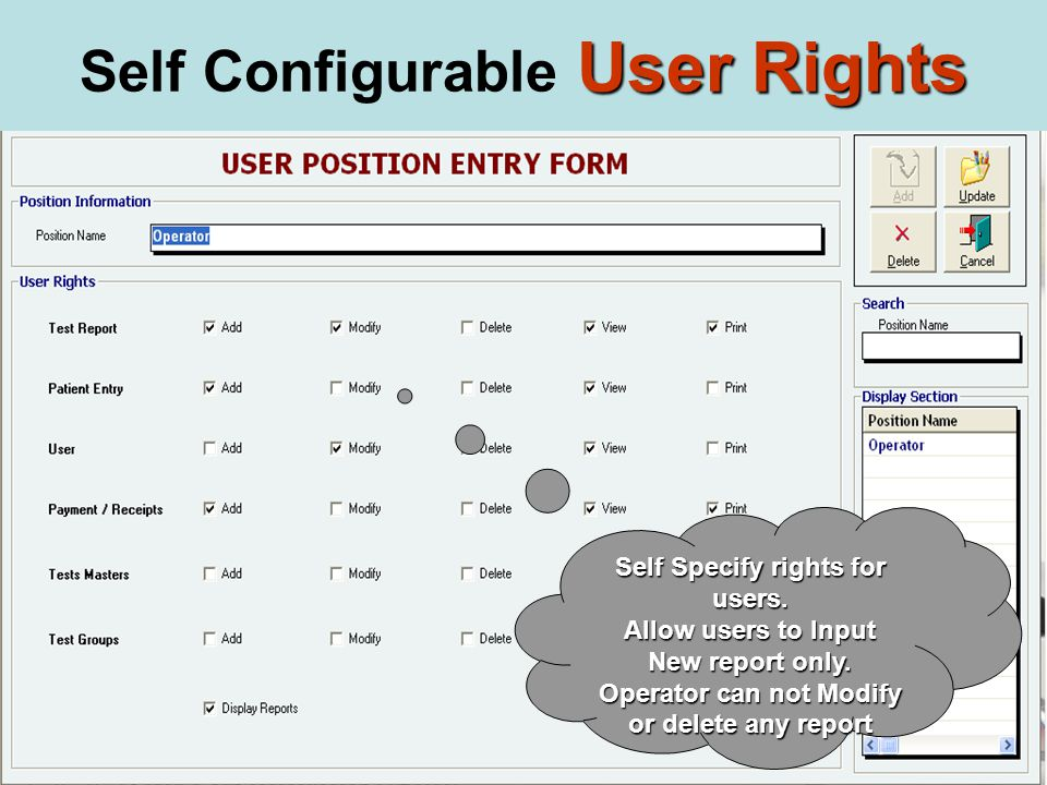 Self Specify rights for users. Allow users to Input New report only.