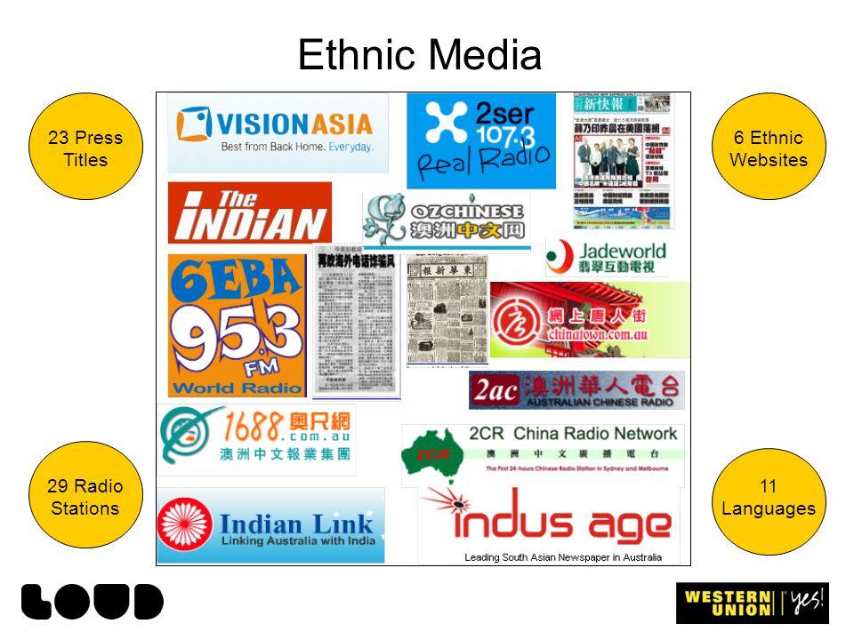 Ethnic Media 23 Press Titles 29 Radio Stations 6 Ethnic Websites 11 Languages