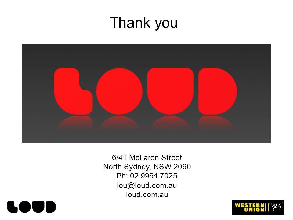Thank you 6/41 McLaren Street North Sydney, NSW 2060 Ph: 02 9964 7025 lou@loud.com.au loud.com.au