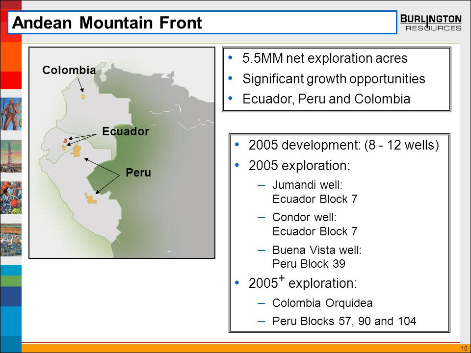 10 Andean Mountain Front 5.5MM net exploration acres Significant growth opportunities Ecuador, Peru and Colombia 2005 development: (8 - 12 wells) 2005 exploration: – Jumandi well: Ecuador Block 7 – Condor well: Ecuador Block 7 – Buena Vista well: Peru Block 39 2005 + exploration: – Colombia Orquidea – Peru Blocks 57, 90 and 104 Ecuador Colombia Peru