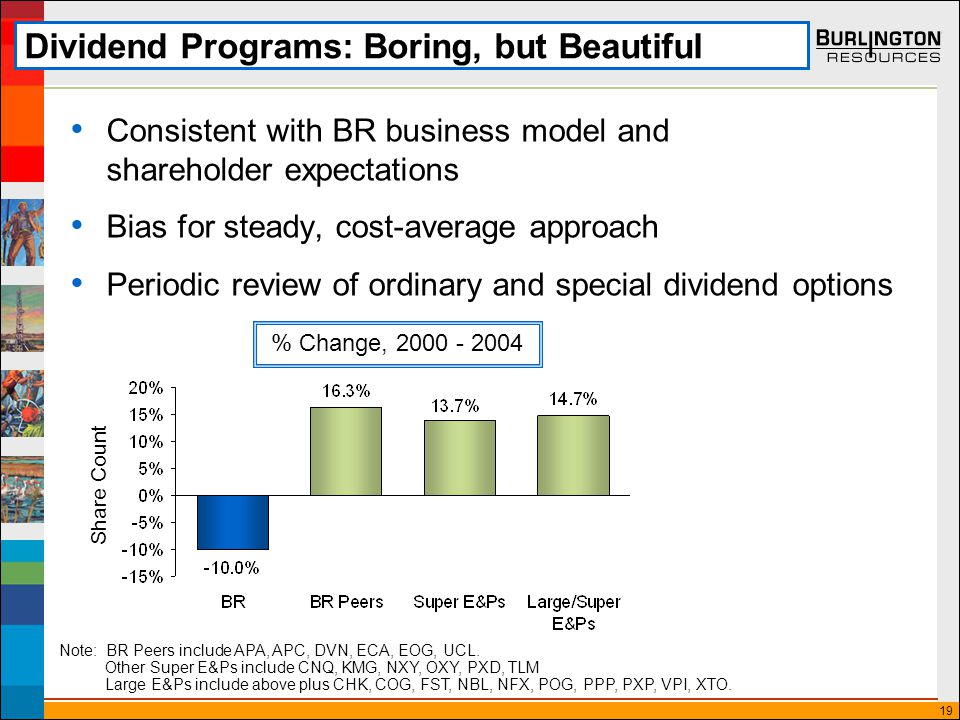 19 Dividend Programs: Boring, but Beautiful Consistent with BR business model and shareholder expectations Bias for steady, cost-average approach Periodic review of ordinary and special dividend options % Change, 2000 - 2004 Note: BR Peers include APA, APC, DVN, ECA, EOG, UCL.