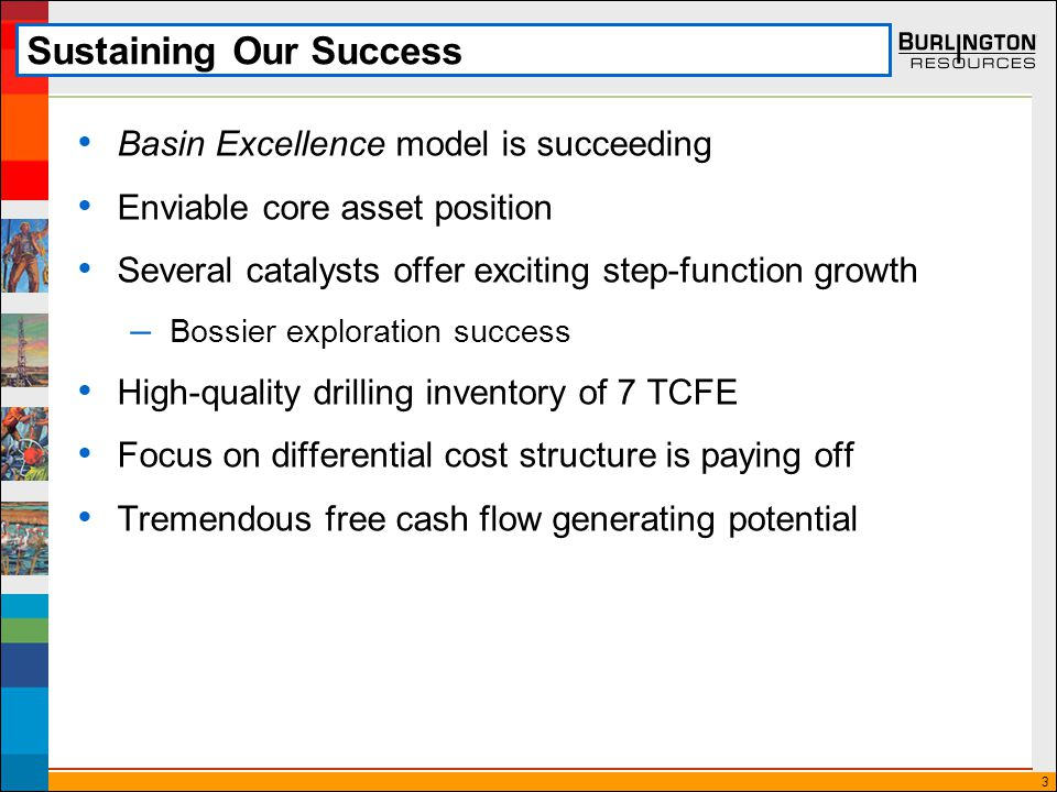 3 Sustaining Our Success Basin Excellence model is succeeding Enviable core asset position Several catalysts offer exciting step-function growth – Bossier exploration success High-quality drilling inventory of 7 TCFE Focus on differential cost structure is paying off Tremendous free cash flow generating potential