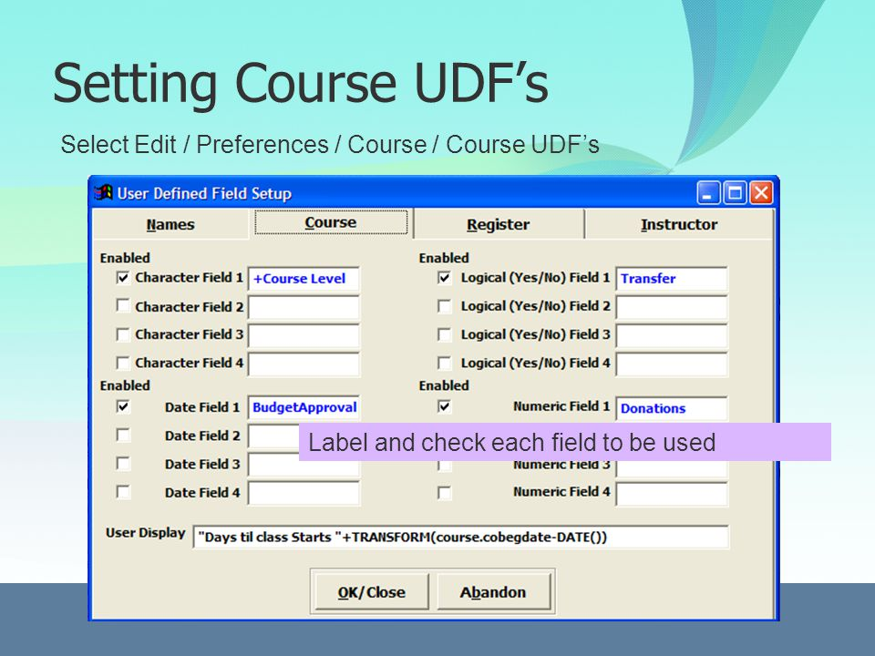 Setting Course UDFs Select Edit / Preferences / Course / Course UDFs Label and check each field to be used