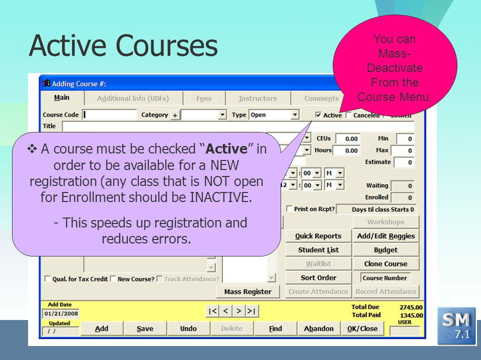 Course Types Seven course types determine screen behavior.