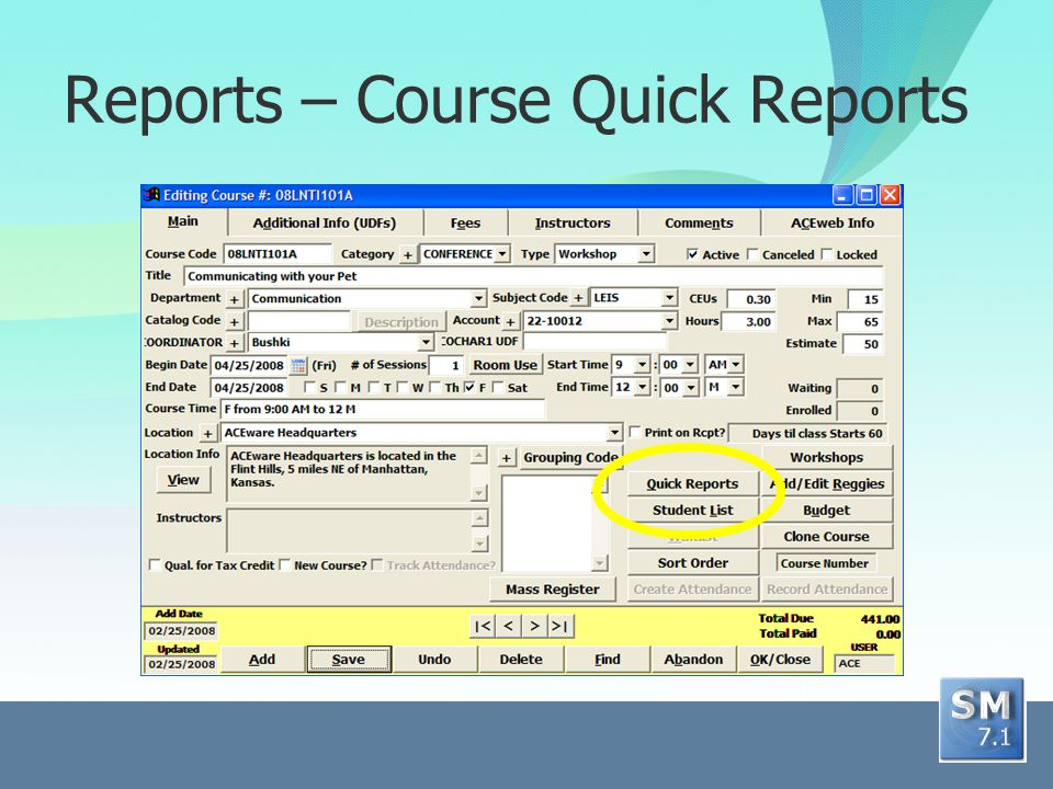 Reports – Course Quick Reports