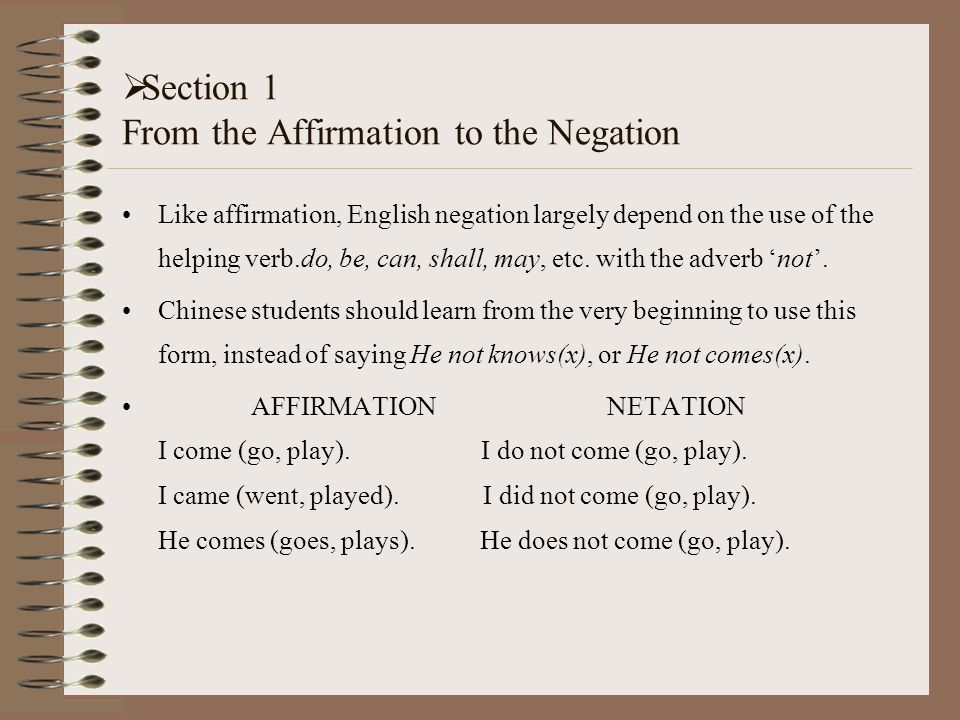 Negation --how do we use it