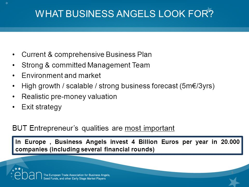 5 WHAT BUSINESS ANGELS LOOK FOR.
