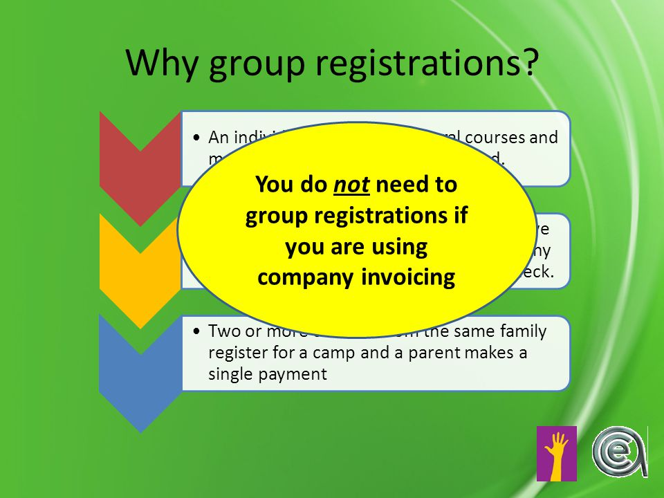 Why group registrations.