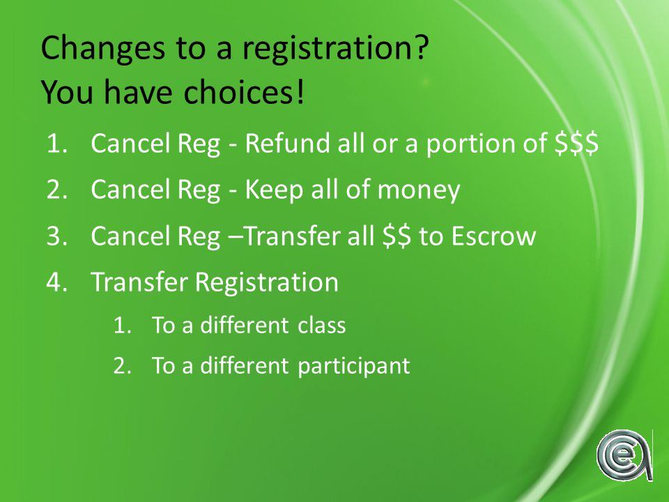 Changes to a registration.You have choices.