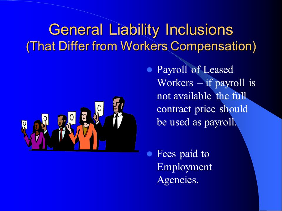 Payroll Exclusions Not Discussed in the NCCI Manual Imputed pay ( personal car usage, moving expense, life insurance premium over $50,000.) Earned inc